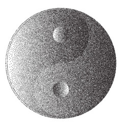 yin and yang in dotted style vector image