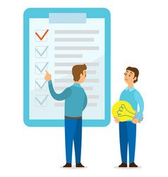 young guys and big clipboard with check markers vector image