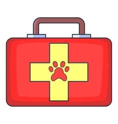Red pet first aid kit icon cartoon style vector image