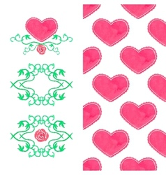 Watercolor set seamless heart pattern and wreaths vector image vector image