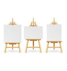 wood easels or painting art boards with white vector image vector image
