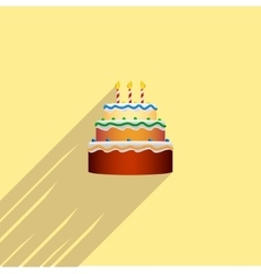 colorful birthday cake in the style of a flat vector image vector image