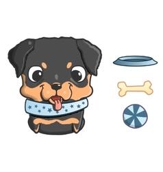 Cute cartoon rottweiler puppy vector image