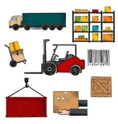 Delivery shipping and freight objects vector image vector image