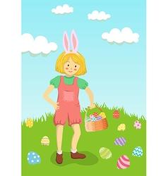 Girl Hunt Easter Egg in Garden vector image