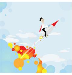 rocket shooting to goal vector image vector image