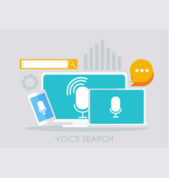 voice search banner computer laptop and phone vector image