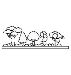 collection tree forest natural foliage outline vector image vector image