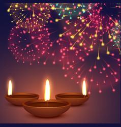 diwali diya with fireworks background vector image vector image
