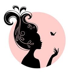 silhouette head vector image
