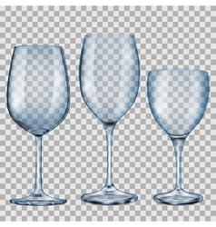Transparent blue empty glass goblets for wine vector image vector image