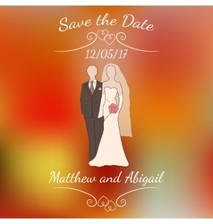 Bride and groom pastel silhouettes over vector
