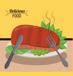 Delicious food beef steak pea hot dinner fork and vector