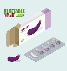 Eggplant vitamins Vegetarian pills Tablets in pack vector image vector image