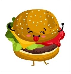 Funny hamburger isolated cartoon character vector image vector image