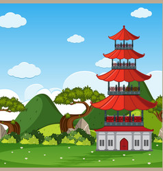 garden scene with chinese tower in the field vector image