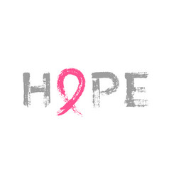 hope lettering pink ribbon breast cancer awareness vector image