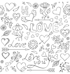 pattern with heartsflowers and other elements vector image