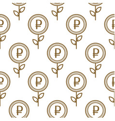 ruble currency symbol floral abstract seamless vector image vector image