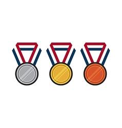 Set of gold silver bronze medal flat design vector image