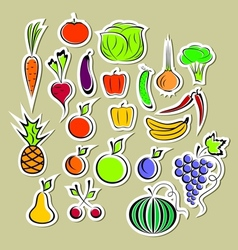 Stickers of vegetables and fruits vector image vector image