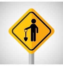 Under construction road sign man and shovel vector
