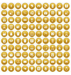 100 box icons set gold vector