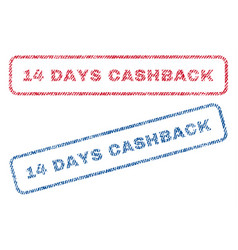 14 days cashback textile stamps vector