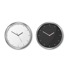 3d realistic simple round wall office clock vector image