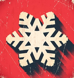 Aged Christmas snowflake card with halftone shadow vector image