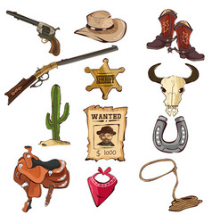 american old western icons vector image