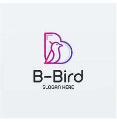 B for bird line art logo design vector