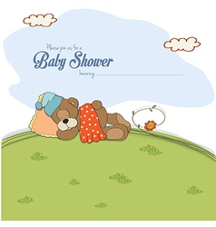 baby shower card with teddy bear vector image