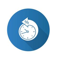 Back arrow around clock with percent flat design vector