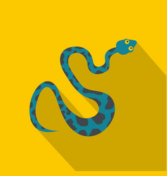 blue snake with spots icon flat style vector image