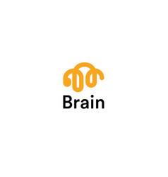 brain linear logo silhouette design vector image