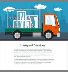 Brochure of small truck transports windows vector