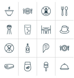 Cafe icons set collection of grill hooch meal vector