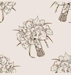 calla flowers seamless pattern engraving vector image