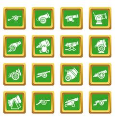 Cannon retro icons set green square vector