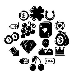 Casino icons set simple style vector