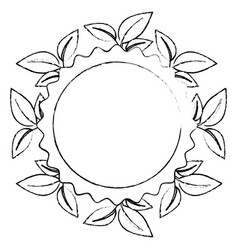 Circular frame with leaves icon vector