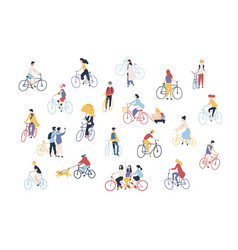 Collection of people riding bikes on city street vector