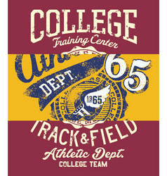College track and field athletic vector