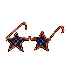 Comic cartoon star sunglasses vector