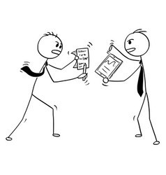 Conceptual cartoon of two businessmen arguing or vector