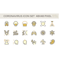 coronavirus and illness icon set design 48x48 vector image