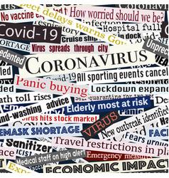 Coronavirus headlines seamless tile vector