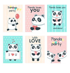 Cute panda invitation cards template set vector