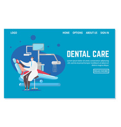 Dental care and dentistry webpage template vector